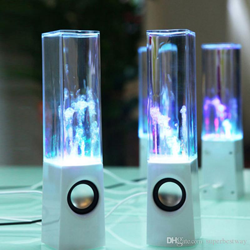 Dancing Water Speaker Music Audio 3.5MM Player LED Light 2 in 1 USB Mini Colorful Water-drop Show Speakers DHL Free MIS105