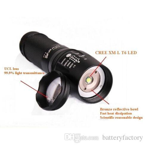 Precio más bajo al por mayor, UltraFire E17 878 CREE XM-L T6 2000Lumens High Power Torch Zoomable LED Flashlight by 2 18650 battery