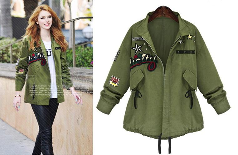 Teenage Girls Streetwear Jacket Ladies Army Green Coat 2016 Spring New Style Fashion Easy
