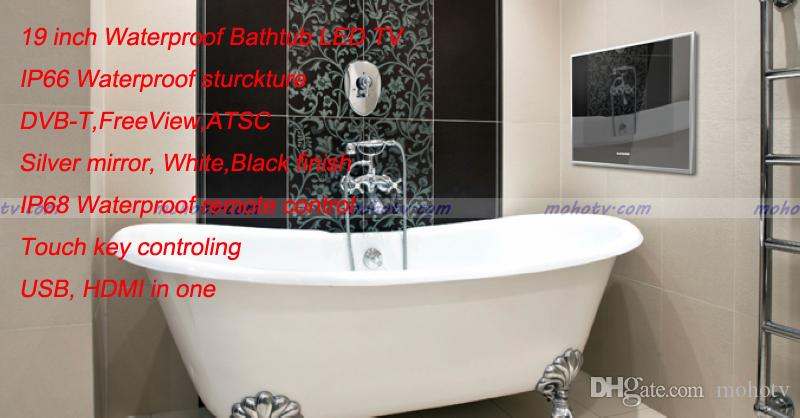 22 Inch Deluxe Bathroom Mirror Tv Waterproof Led Digital Hdtv Monitor Hdmi Vga Usb In One White Black Color Free Drop Shipping Flat Screen