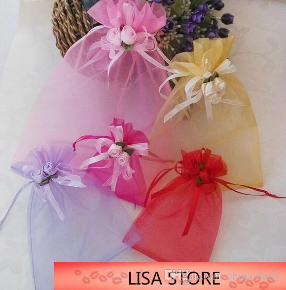 Free Ship Various Sizes Organza Bags Tulip Flowers Bowknot Business Promotional Packaging Bag Sachet Candy Beads Christmas Gift Bags