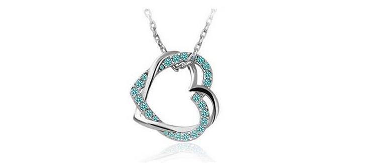 Luxury Personalized Necklaces Double Heart Design Necklaces for Women Crystal Decoration Best Pendant Necklaces Online B128