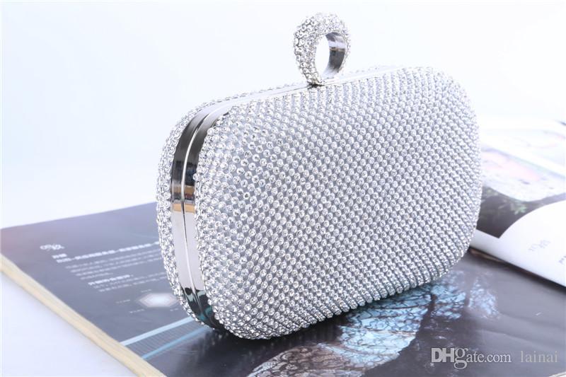 Fabrik-direkt / Retaill / Großhandel marke neue handgefertigte einzigartige diamant abendtasche / kupplung mit satin für hochzeit / bankett / party / porm mehr farben