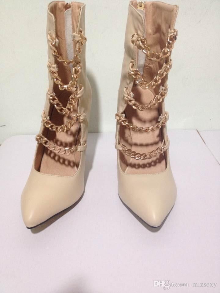 женщины сандалии 2018 золотая цепь острый указал шпильках туфли на высоких каблуках женщина sapato feminino Мелисса обувь Гладиатор сандалии женщин