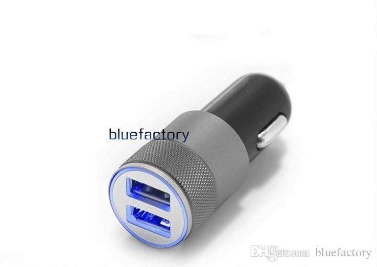 Metal Alaşım Çift USB Araç Şarj LED Işık 5 V 3.1A 2-Ports Sync Şarj Adaptörü Bullet Evrensel iphone6 artı Samsung S6 HTC için