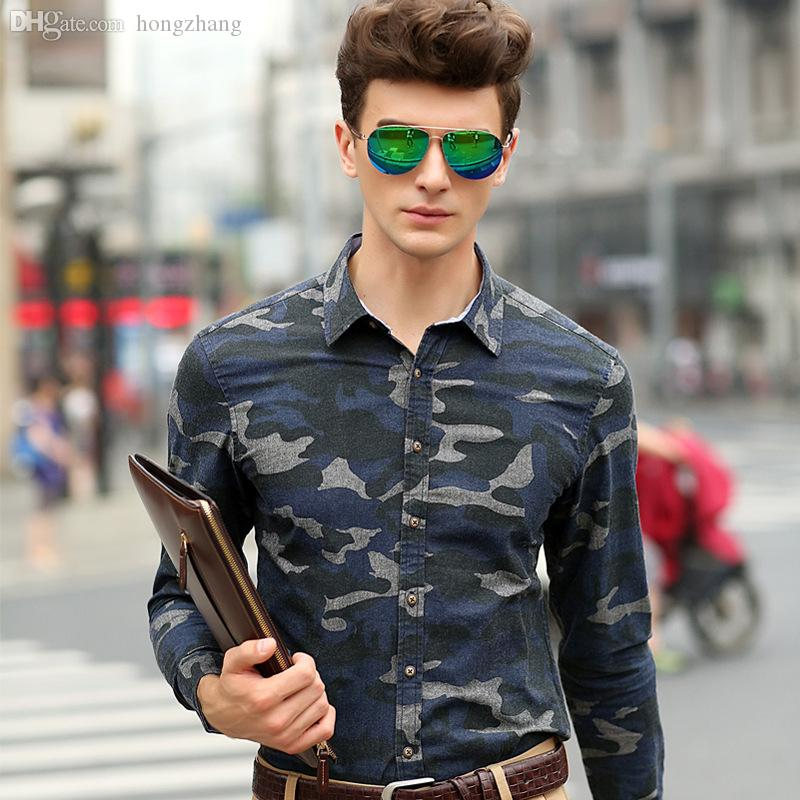 5a0c0b64752 Wholesale-Men Camo Shirt Long Sleeved Military Shirts 2015 New ...