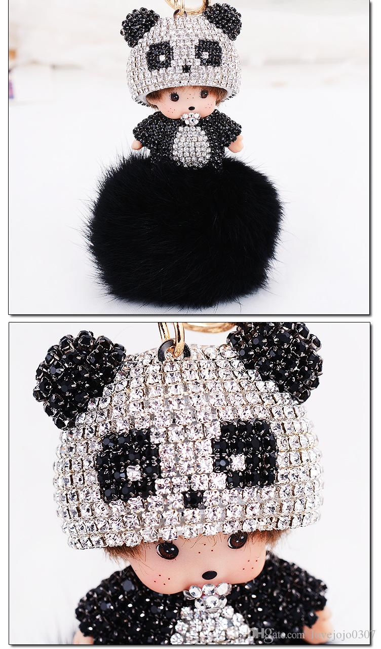 Monchichi Handmade cute bling panda sleutelhanger crystal genuine rabbit furball keychain pendant for car bag keyring
