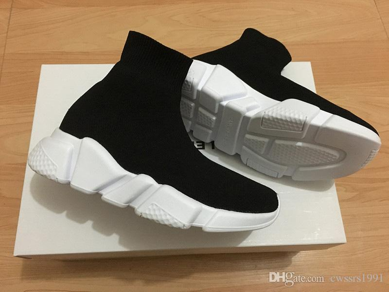 Fashion Kids Socks Boots High-Top Children Athletic Shoes Baby Slip-On Casual Flats Shoes Speed Trainer Running Shoes Black Gray Blue