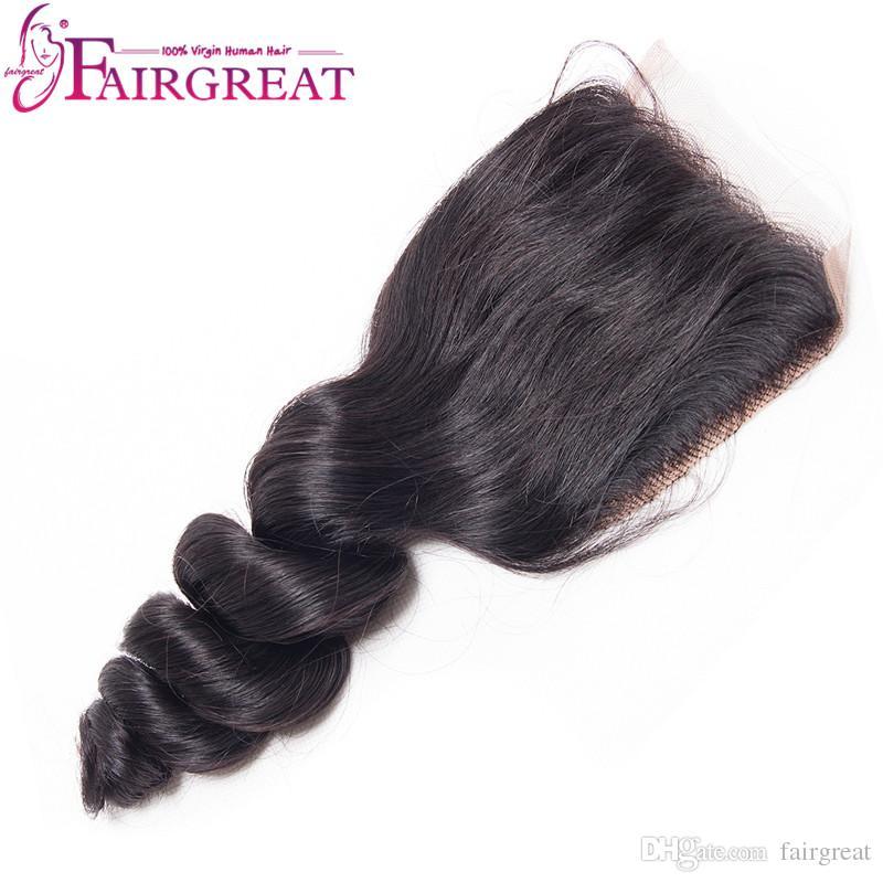Paquetes de cabello humano brasileño de onda suelta con cierre Extensiones de cabello brasileño de la Virgen se pueden enderezar y rizar Textura agradable Onda suelta
