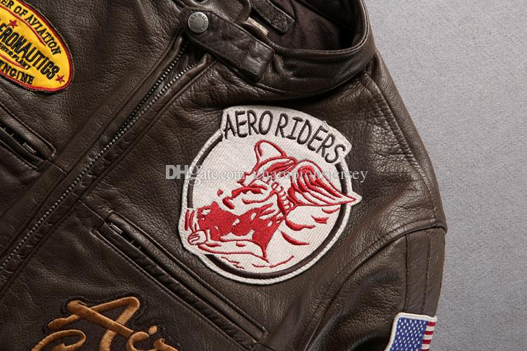Man Genuine Leather Jacket AVIREX first layer calfskin leather jackets AVIREX AEROMAUTICS multi-standard racing suits motorcycle coats
