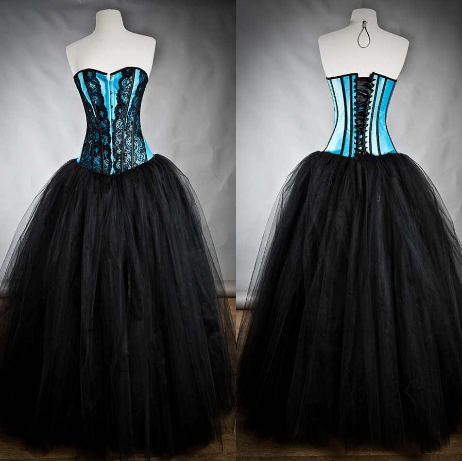 Gothic Black And Blue Lace 2015 Ball Gown Wedding Dresses Vintage Victorian Strapless Tulle Halloween Floor Low Party Corset Bridal Gowns