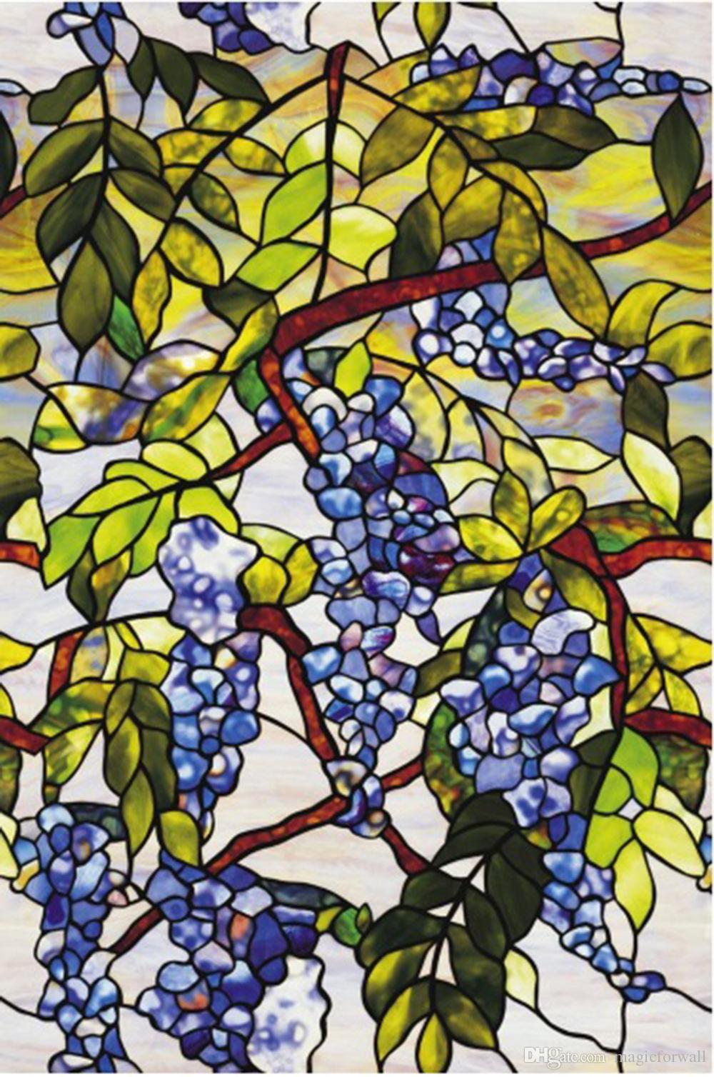 3D Colorful Grape Vine Window Film Static Cling Glass Film Non-adhesive Frosted Bathroom Window Glass Film