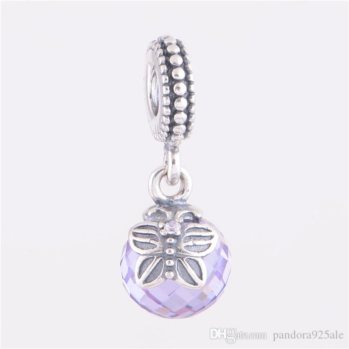 d12dd0a90 2019 LAVENDER MORNING BUTTERFLY PENDANT CHARM DIY Beads Real Solid 925  Sterling Silver Not Plated Fits Original Pandora Bracelets & Bangles From  ...