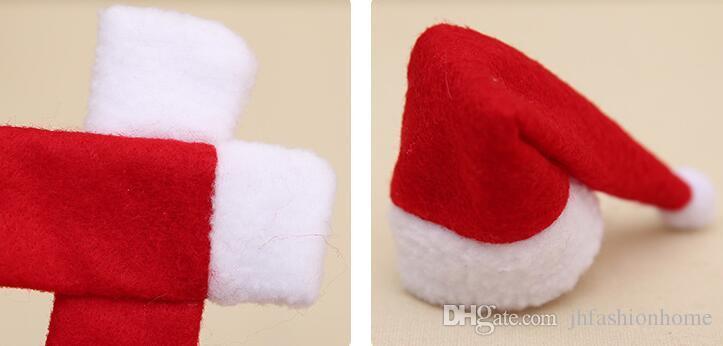 Rote Vlies Weihnachten dekorieren für Rotweinflasche setzt Weihnachtsmützen Schal Weihnachtsfeier DIY Zubehör