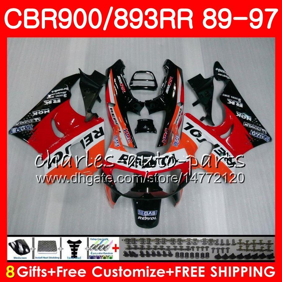 CBR 893RR For HONDA CBR900RR CBR893RR 89 90 91 92 93 94 95 96 97 9HM CBR893 RR 1989 1990 1991 1992 1994 1995 1996 1997 Fairing Repsol Orange
