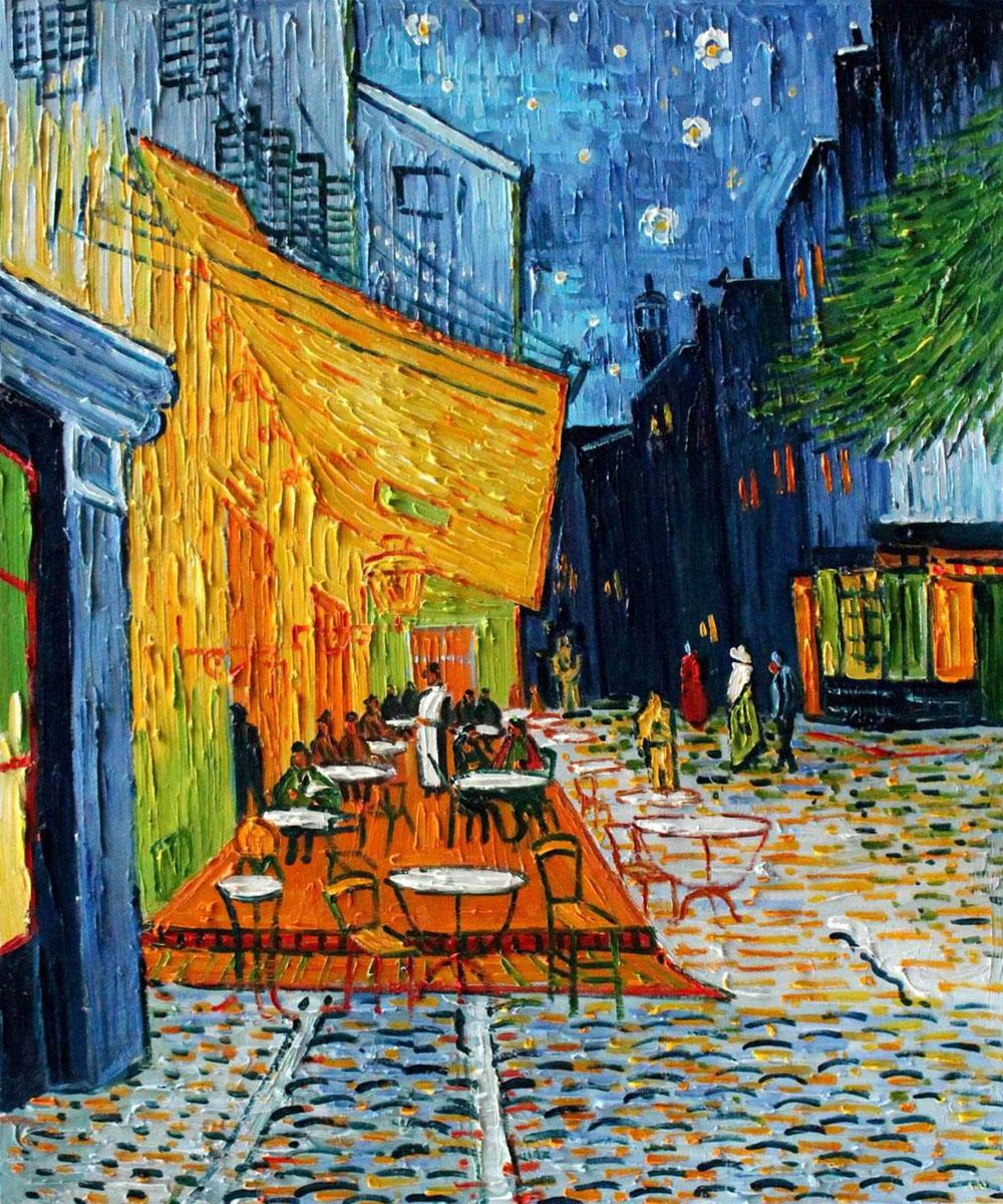 2017 Cheap Oil Painting Cafe Terrace At Night By Artist