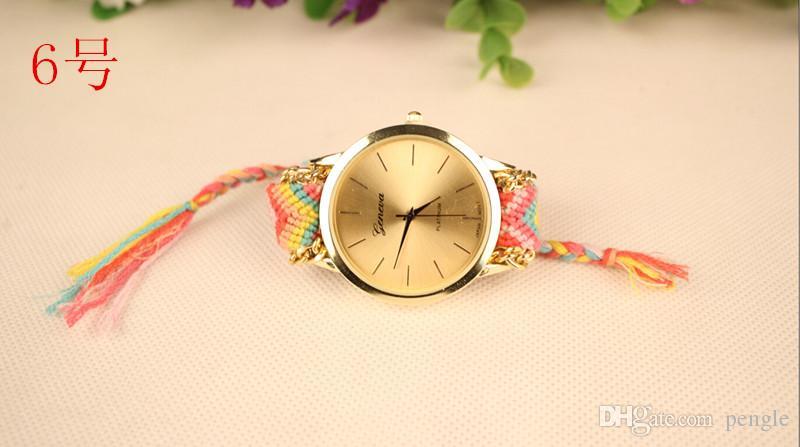 Nowy Pleciony Geneva Moda Watch Wrist Watch Kobiety Lady Watch Okrągły Dial Uroczy Bransoletki Mix 6 Kolory DHL Free Drop Shipping