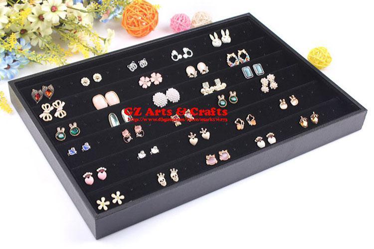 Qualità nero velluto giada ciondolo collana vassoio titolare braccialetti anello box orecchini stud vassoio gioielli organizer display stand puntelli cremagliera