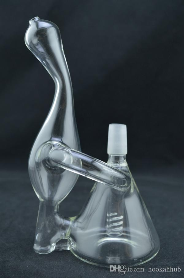 Best New Mini Glass Bong Water Percolater Recycler Mini Oil Rig Only 6 Inches Portable Mini Bong Free Glass Dropdown Adapter Glass Bowl Sale