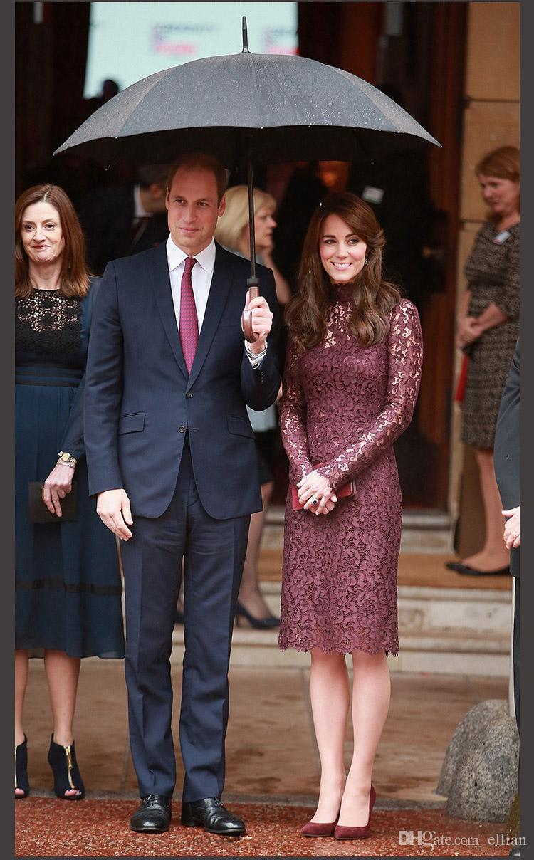 Lace Princess Sheath Dress Elegant Long Sleeve Kate Middleton Dresses WF011