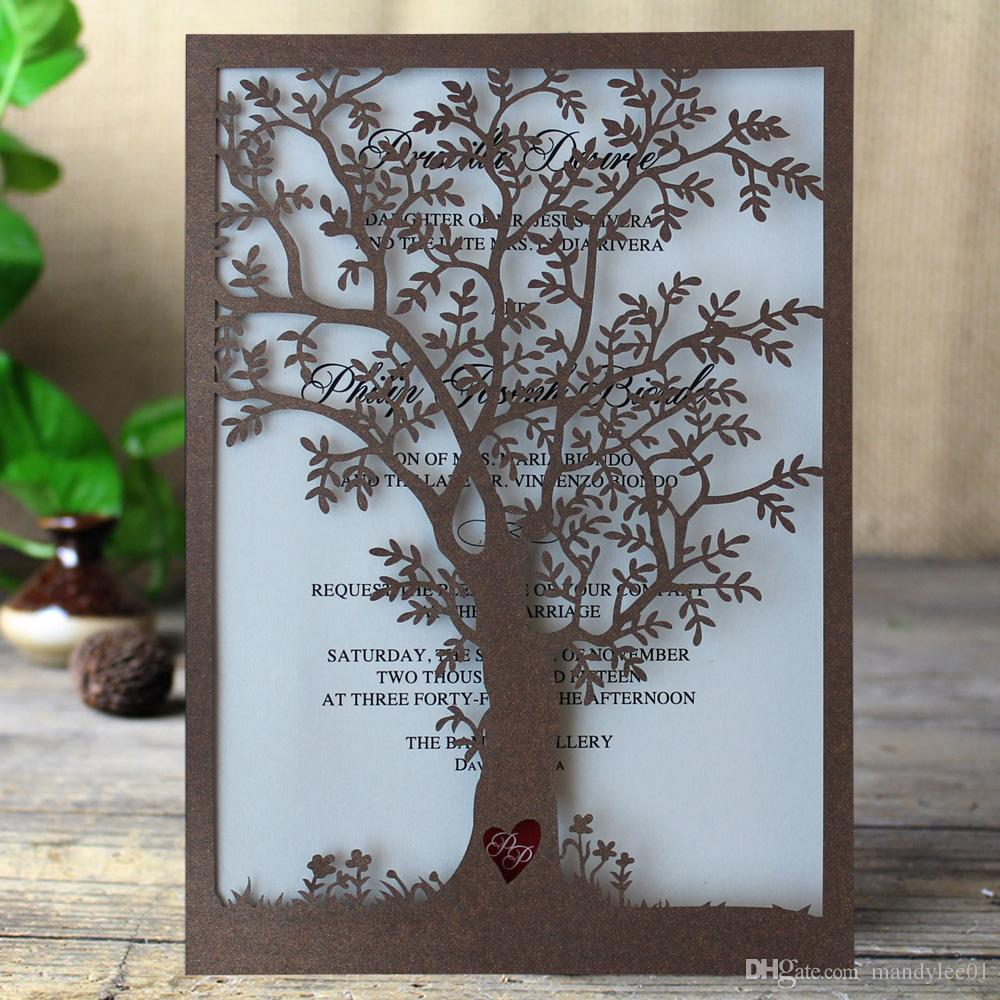 see larger image - Laser Cut Tree Wedding Invitations