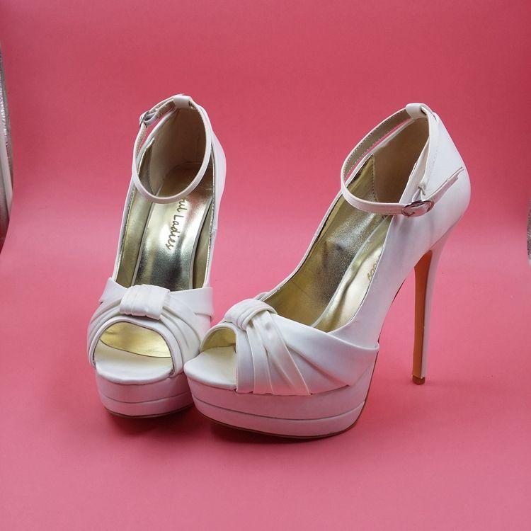 2fd4f8da45ad3 Elegant Ivory Satin Wedding Shoes Peep Toe Ankle Straps Platform Bridal  Sandals For Women Plus Size US14 Stilettos High Heels Custom Made Canada  2019 From ...