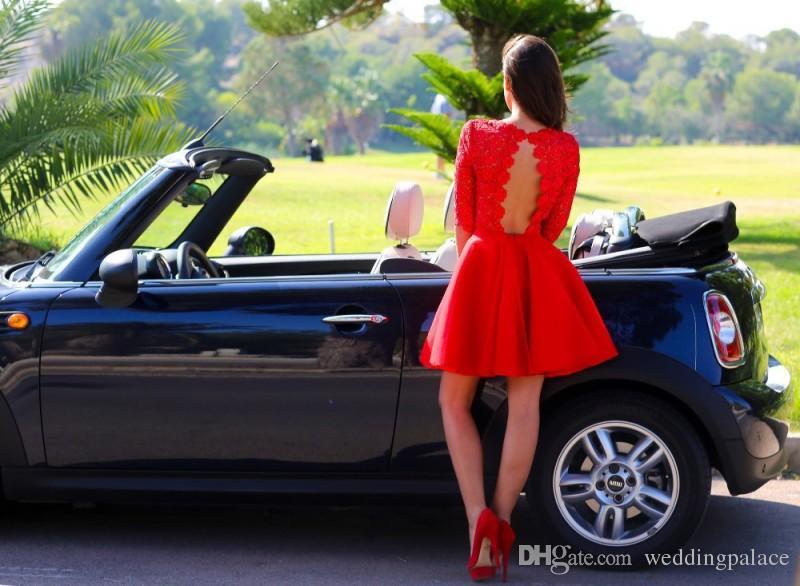 Última joya de cuello Mini Corto Rojo Vestidos de fiesta de encaje Media manga Moda Satén Sin respaldo Elegante Sexy Cóctel Noche Vestido de fiesta Vestidos