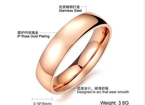 Gratis verzending Fijn groothandel - Womens / Mens Titanium Engagetmet Ringen Rose Gold Unisex Grootte 6-10 Wide 5mm Beknopt en elegant