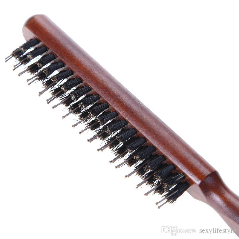 Hair Brush Wood Handle Natural Boar Fluffy Bristle Comb Hairdressing Barber Tool Teasing Bristle Hairbrush Salon