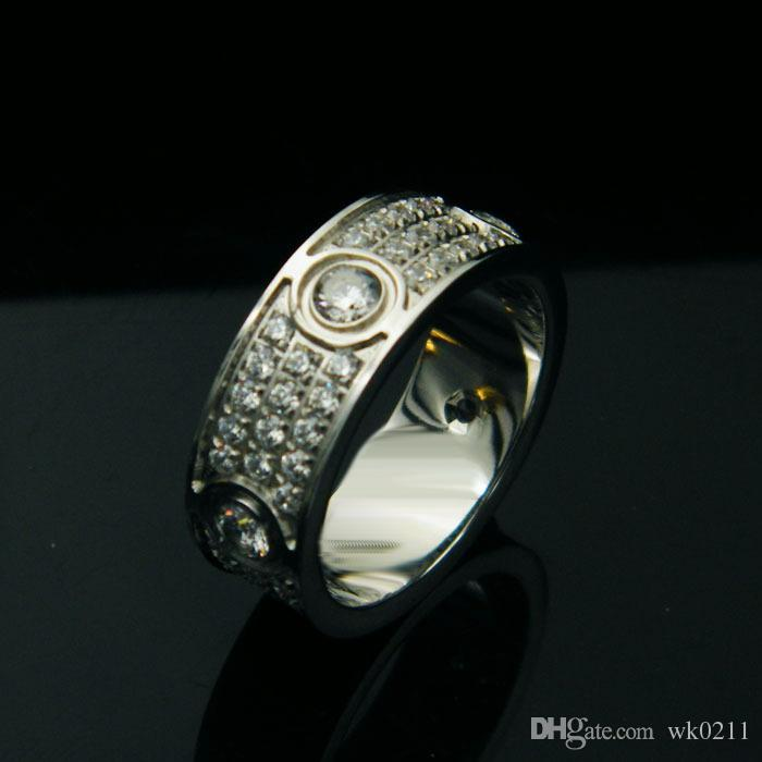 Moda donna e uomo Marry Jewelry New Anello in oro con tre diamanti per simulazione top in acciaio inossidabile