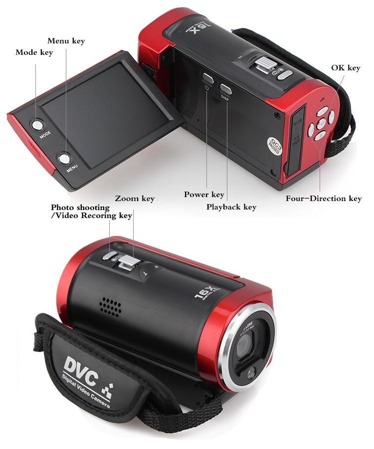C6 Camera 720P HD 16MP 16x Zoom 2.7'' TFT LCD Digital Video Camcorder Camera DV DVR Black Red hot worldwide