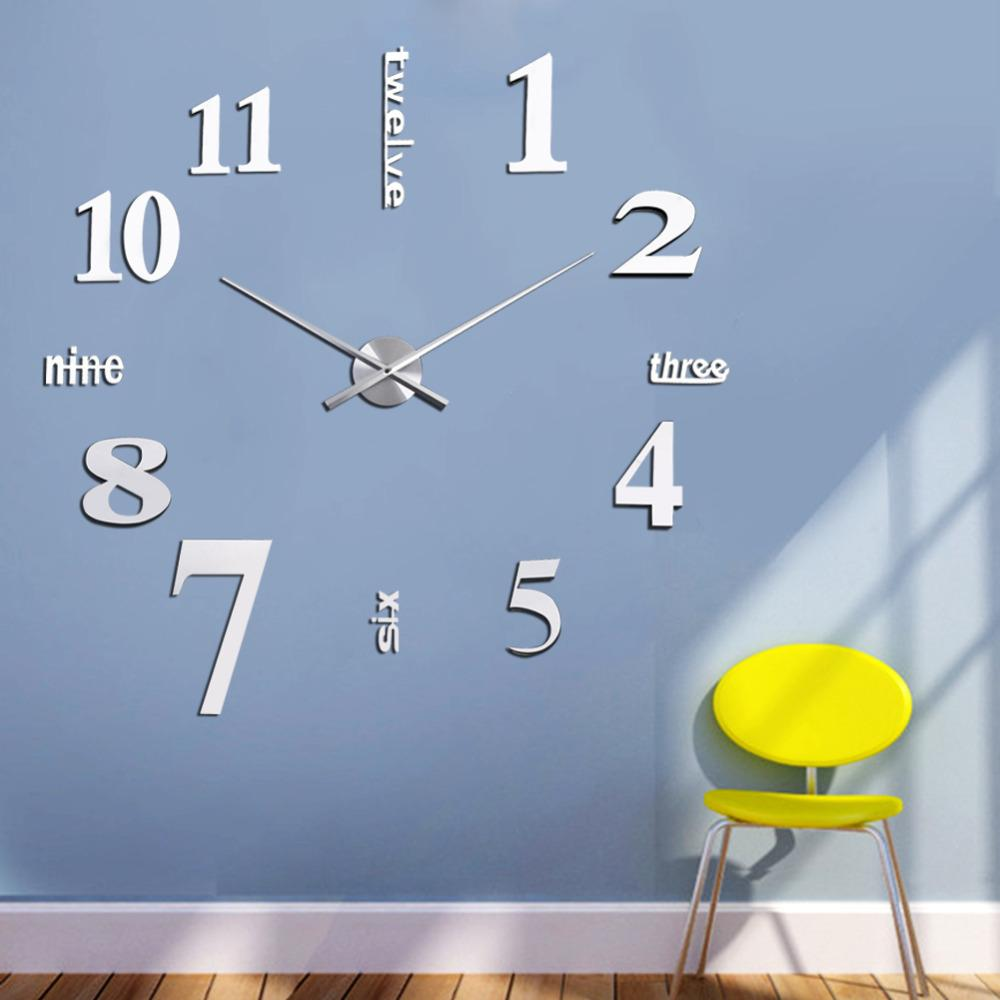 diy 3d wall clocks mirror face acrylic numeral wall sticker clock see larger image