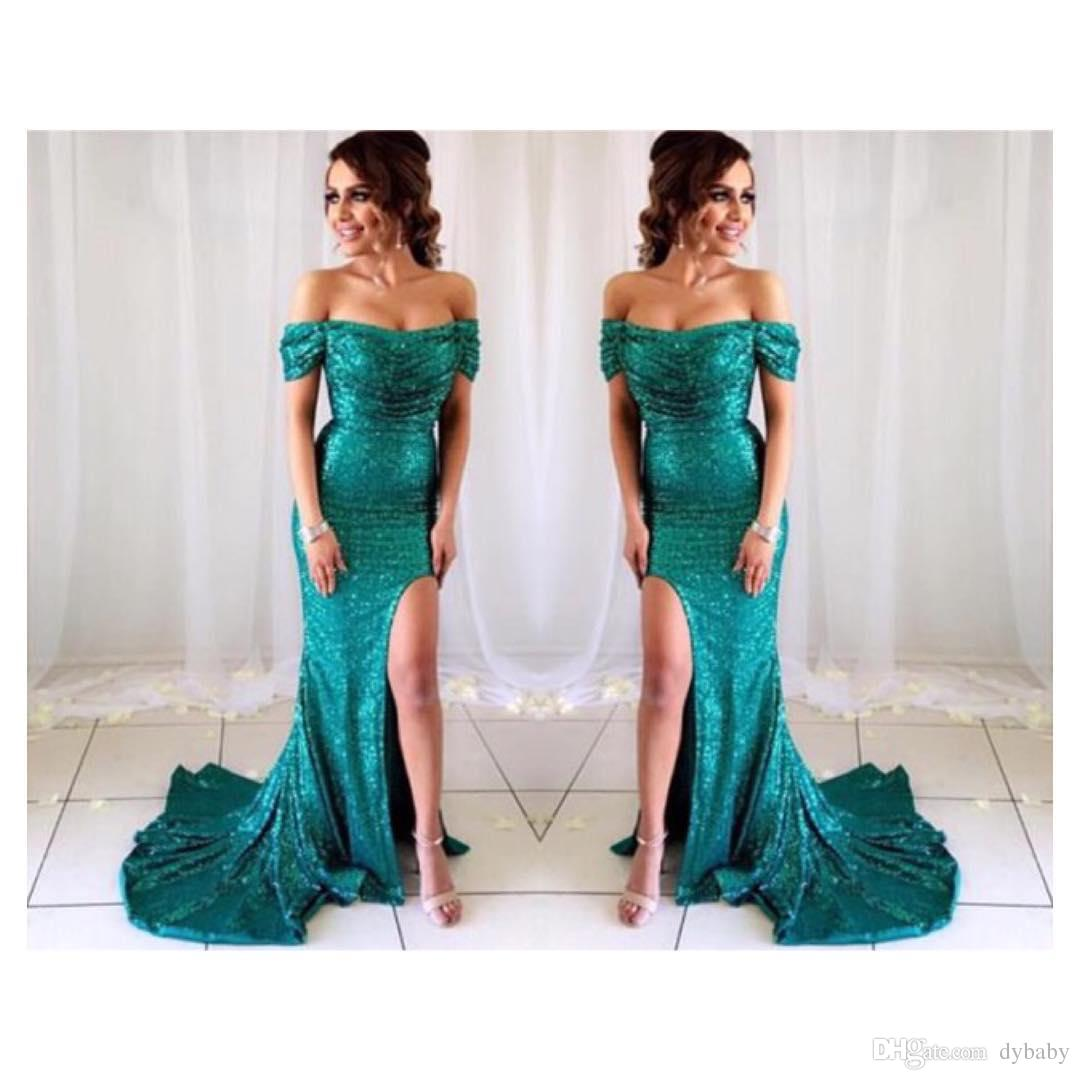 2018 Sexy Mermaid Plus Size Evening Dresses Emerald Green High Split ...