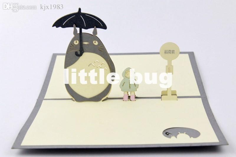 Wholesale New Totoro Postcardscartoon Pop Up Cards Thank You Cards