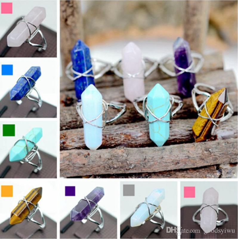 Anillos de prisma hexagonal Piedra preciosa Roca Cristal de cuarzo natural Punto de curación Chakra Encantos de piedra Anillos de apertura para mujeres hombres