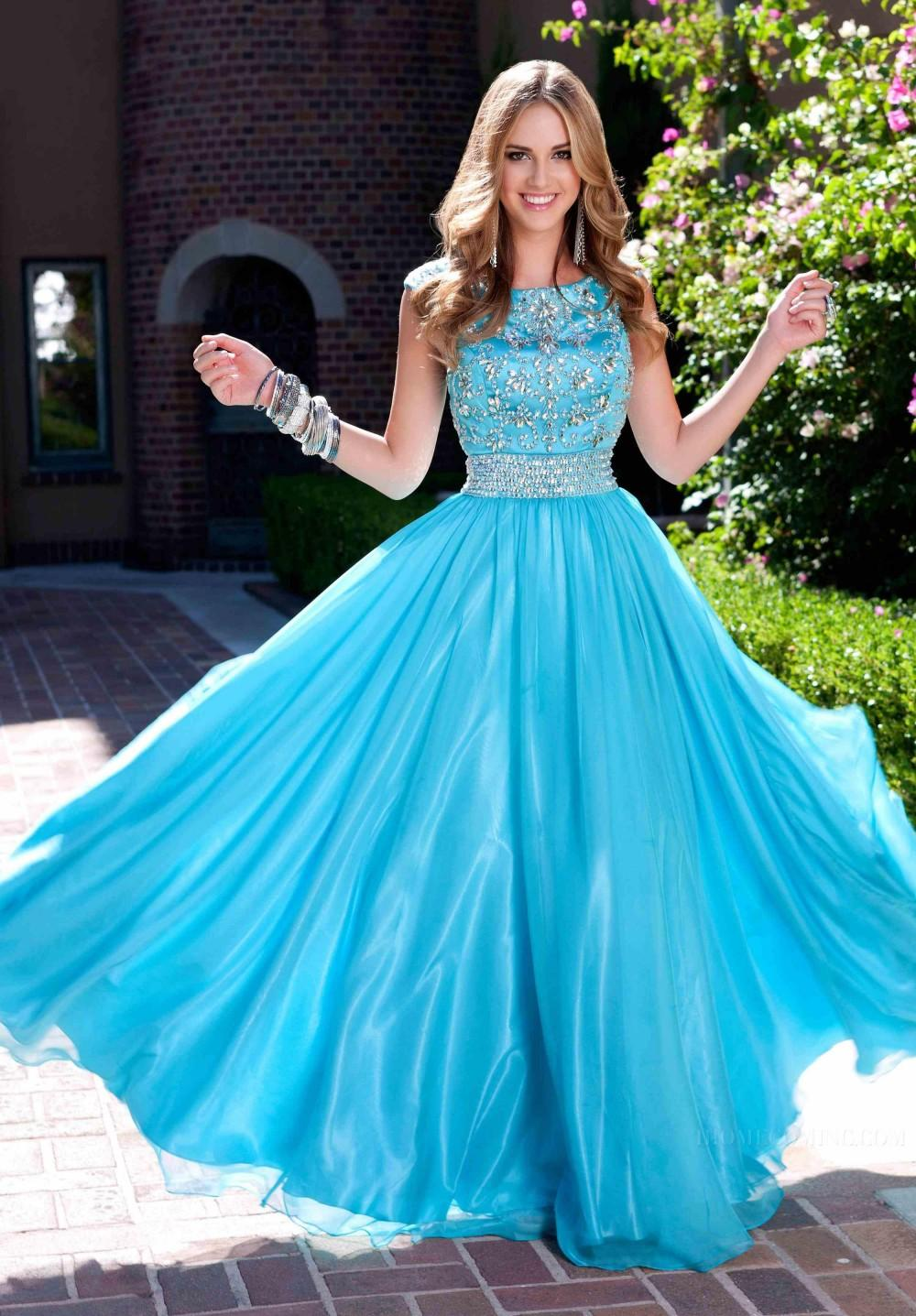 Popular Blue Modest Prom Dresses With Scoop Neck Crystal Beads ...