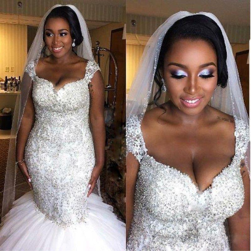2018 African Nigerian Luxury Plus Size Mermaid Wedding Dresses Sweetheart Cap Sleeves Beaded Crystals Wedding Gowns Ruffles Bridal Dress
