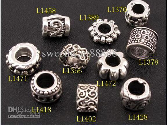 Dots Flower Swirl Charm Spacer Beads Mix / Tibetan Silver Fit Joyas de la pulsera Europea DIY