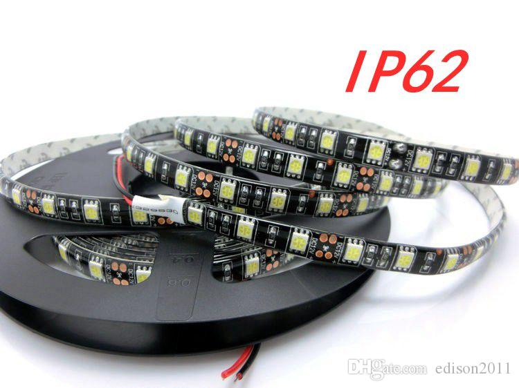 5050 DC12V 60LED / M 5M / ROLL Zwart PCB RGB W LED Strip Waterdicht / Niet-Waterdicht 5M Strip + 40Key IR-afstandsbediening + 12V 5A-adapter