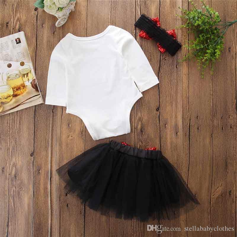Birthday Party Princess Outfit Bodysuit Ruffle Black Tutu Skirt 2018 New Style Girls Clothing Set Bodysuit Tutu Skirt Shinny Bow