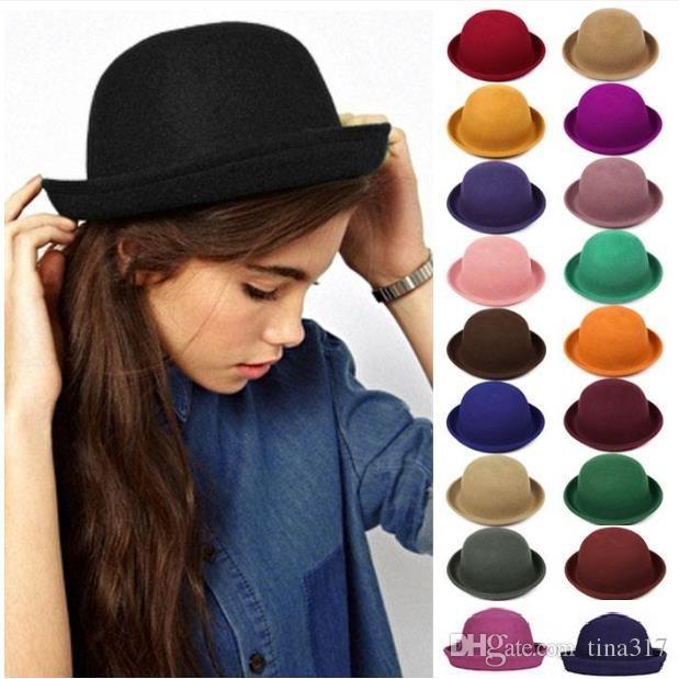 New Stingy Brim Hats Women Felt Trilby Wool Felt Hats Vintage Trendy ... 0ba57915f60