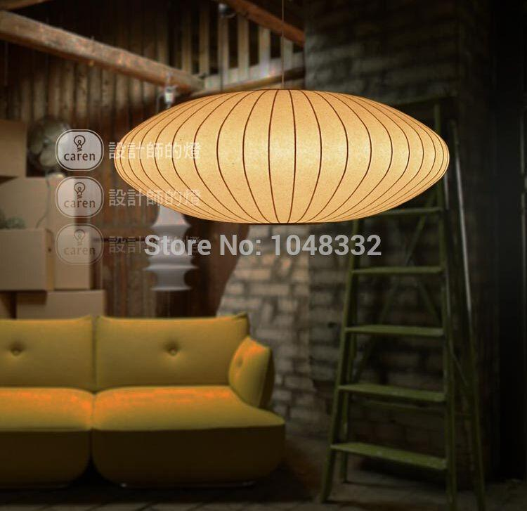 discount nordico george nelson bubble saucer pendant lights silk white lampshade decor for bedroom pendant lamp e27 modern lighting rustic pendant