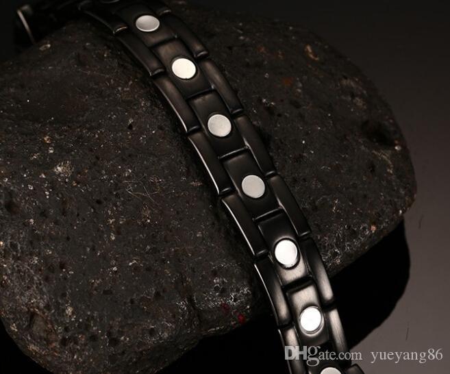Mais novo Cool's Clássico Presente Puro aço inoxidável 316L Nunca Desaparecer Preto Terapia Magnética saúde Pulseira pulseira de Alta Qualidade