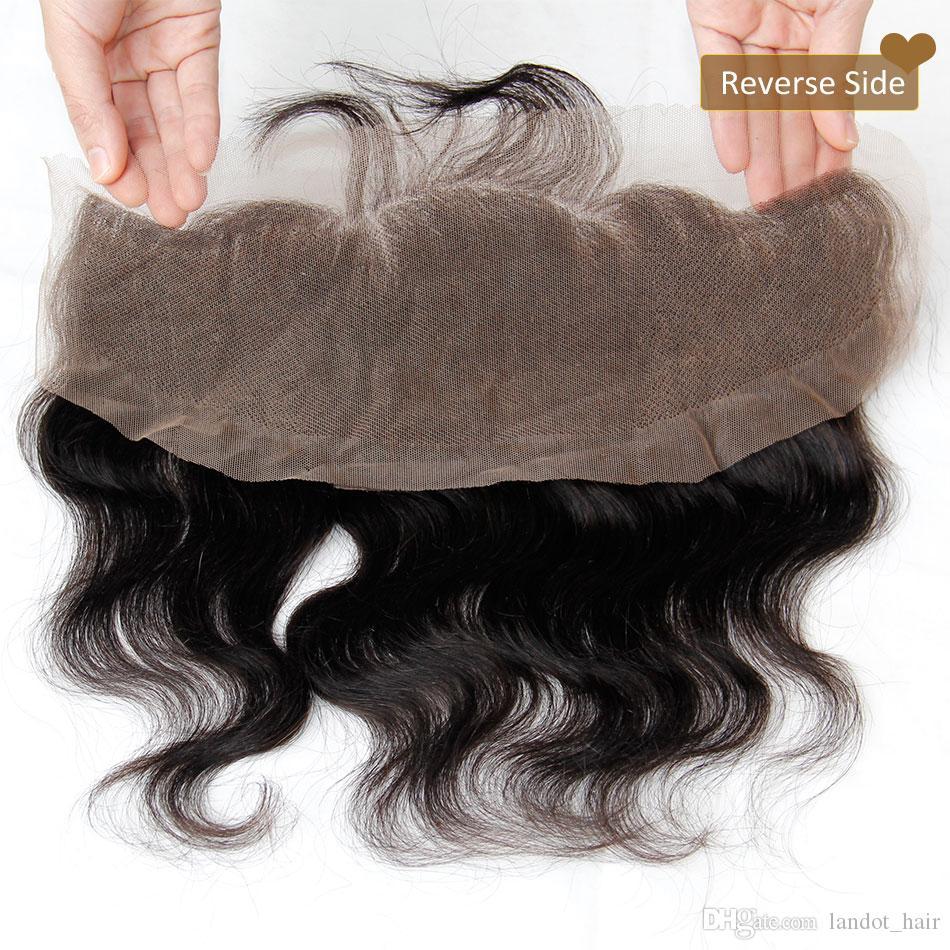Lace Frontal Closure Ear To Ear 13x4Size Brazilian Body Wave Closures Malaysian Indian Peruvian Cambodian Virgin Human Hair Top Lace Closure