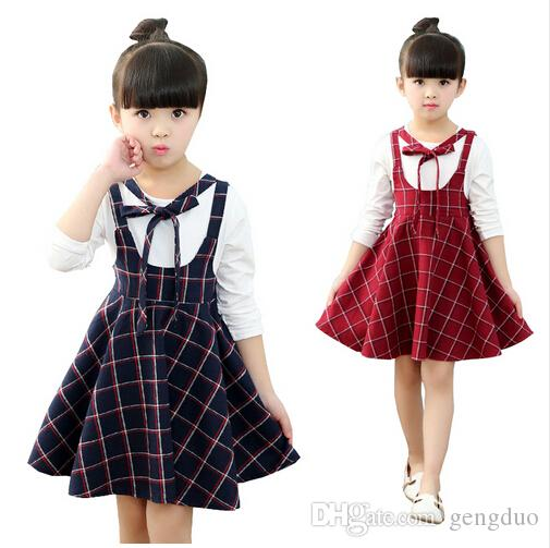 392d89c6fb9f 2019 2018 Autumn Girls Dress With Long Sleeves Blue Red Plaid Kids ...