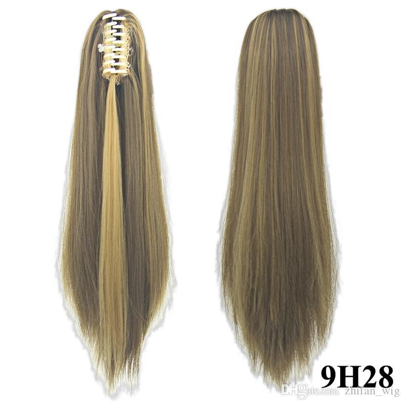 ZF Top Quality i Artiglio Clip Coda di cavallo 55 CM 130g Capelli pezzo sintetico lungo rettilineo capelli estensioni moda donna