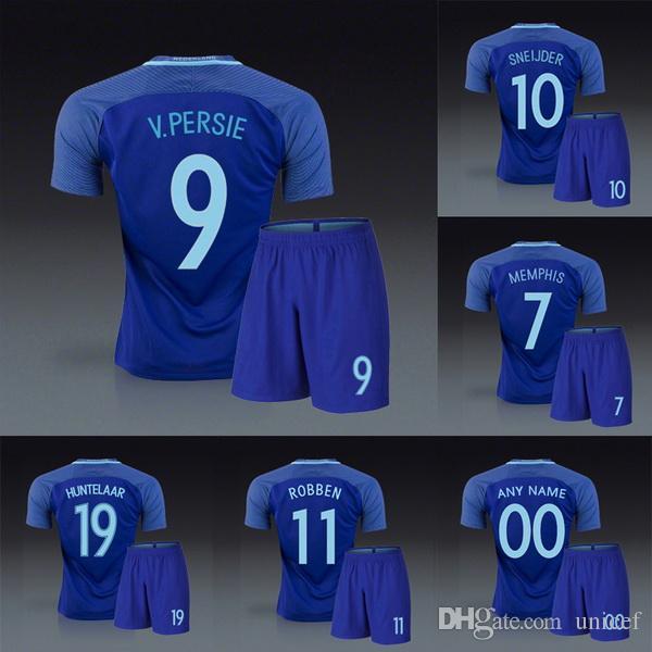 c1901b81756c9 Compre Holanda Holanda 2016 2017 Longe Azul Uniformes De Futebol Kits De  Futebol Jerseys Robin Van Persie Wesley Sneijder Arjen Ladrão Huntelaar  Depay De ...