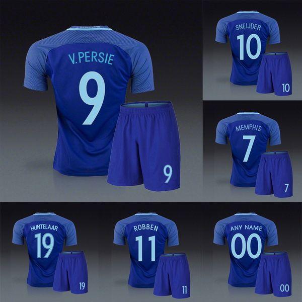 5e399c71c Holland Netherlands 2016 2017 away blue soccer uniforms football kits  jerseys robin van persie wesley sneijder Arjen robber huntelaar depay