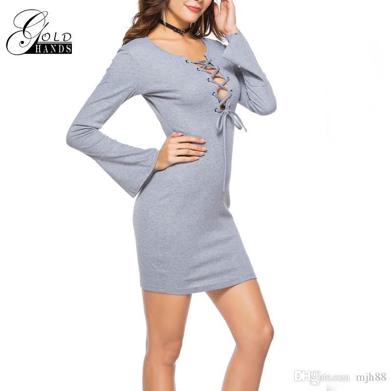ab044a0bd5 Sexy Women Tie Up Cross Strap Basic Solid Color Package Hip Low Cut Female  V Neck Short Pullover Dresses Clothes For Black Women Casual White Summer  Dresses ...