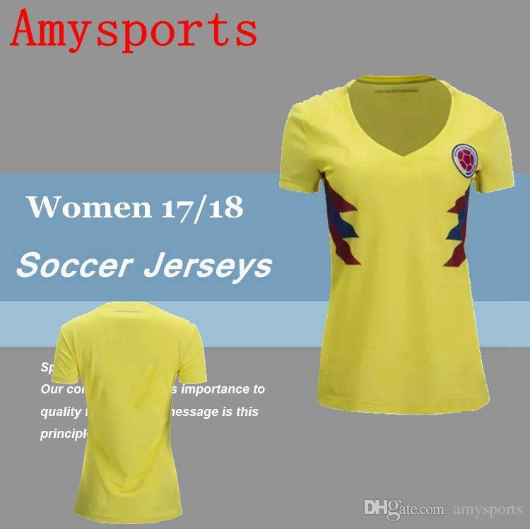 dbbddd704f6 2019 2017/2018 Women Colombia Home Yellow Soccer Jersey Lady Girls ...